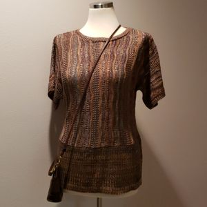 NWOT Knitted Multi-Colored Short Sleeve Top